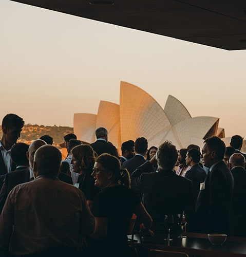 MCA cafe corporate event with Sydney Opera House on the background